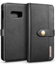 Samsung Galaxy S10E Leren 2-in-1 Bookcase en Back Cover Hoesje Zwart