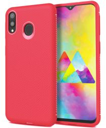 Samsung Galaxy M20 Power Twill Slim Texture Back Cover Rood