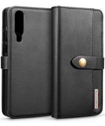 Huawei P30 Leren 2-in-1 Bookcase en Back Cover Hoesje Zwart