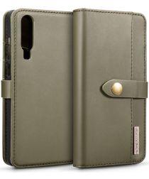 Huawei P30 Leren 2-in-1 Bookcase en Back Cover Hoesje Groen