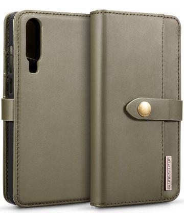 Huawei P30 Leren 2-in-1 Bookcase en Back Cover Hoesje Groen Hoesjes