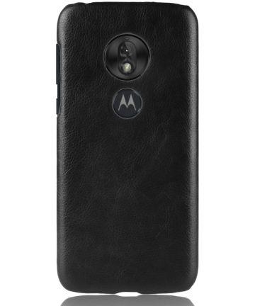 Motorola Moto G7 Play Back Cover met Lederen Coating Zwart Hoesjes