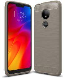 Motorola Moto G7 Power Geborsteld TPU Hoesje Grijs