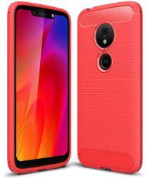 Motorola Moto G7 Play Geborsteld TPU Hoesje Rood