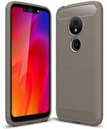 Motorola Moto G7 Play Geborsteld TPU Hoesje Grijs
