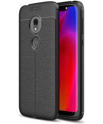 Motorola Moto G7 Play Hoesje Leren Textuur Zwart