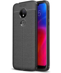 Motorola Moto G7 Power Hoesje met Kunstleer Coating Zwart