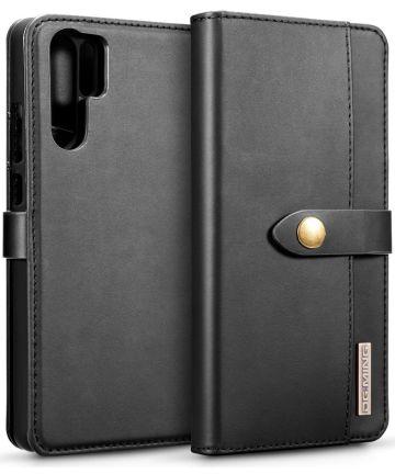 Huawei P30 Pro Leren 2-in-1 Bookcase en Back Cover Hoesje Zwart Hoesjes