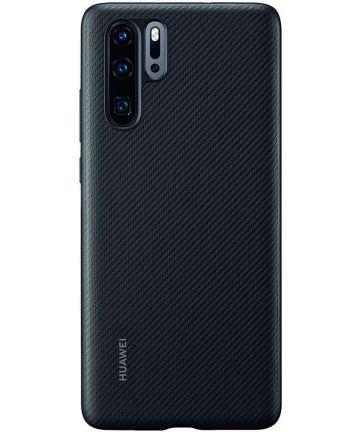 Originele Huawei P30 Pro PU Lederen Back Cover Zwart Hoesjes