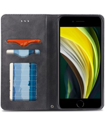 Apple iPhone SE (2020) Hoesje Wallet Stand Book Case Kunst Leer Zwart