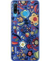 Originele Huawei P30 Lite PC Hoesje Floral Blauw