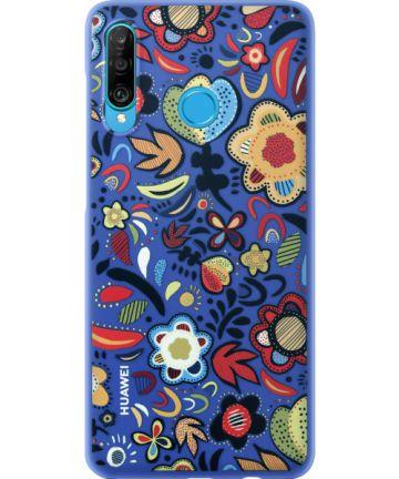 Originele Huawei P30 Lite PC Hoesje Floral Blauw Hoesjes