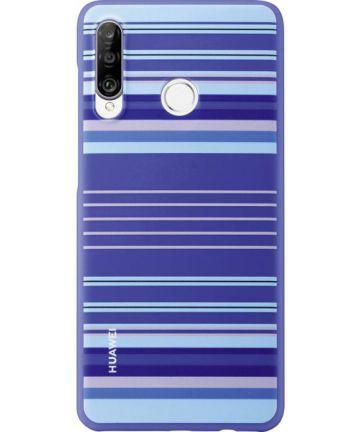 Originele Huawei P30 Lite PC Hoesje Striped Blauw Hoesjes
