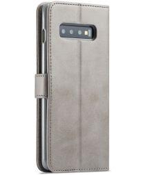 Samsung Galaxy S10 Retro Book Case Portemonnee Hoesje Grijs