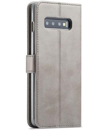 Samsung Galaxy S10 Retro Book Case Portemonnee Hoesje Grijs Hoesjes