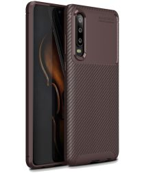 Huawei P30 Siliconen Carbon Hoesje Bruin