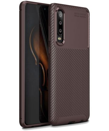 Huawei P30 Siliconen Carbon Hoesje Bruin Hoesjes