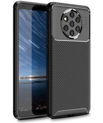 Nokia 9 PureView Siliconen Carbon Hoesje Zwart