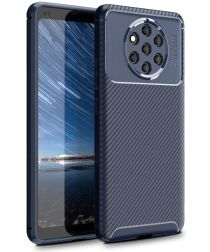Nokia 9 PureView Siliconen Carbon Hoesje Blauw