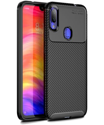 Redmi Note 7 Siliconen Carbon Hoesje Zwart Hoesjes