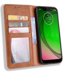 Motorola Moto G7 Play Vintage Portemonnee Hoesje Bruin