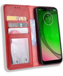 Motorola Moto G7 Play Vintage Portemonnee Hoesje Rood