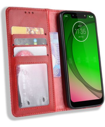 Motorola Moto G7 Play Vintage Portemonnee Hoesje Rood Hoesjes