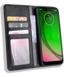 Motorola Moto G7 Play Vintage Portemonnee Hoesje Zwart