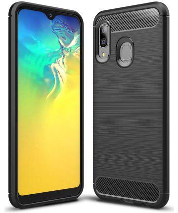 Samsung Galaxy A20E Geborsteld TPU Hoesje Zwart