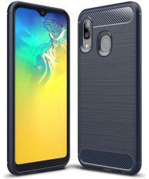 Samsung Galaxy A20E Geborsteld TPU Hoesje Blauw