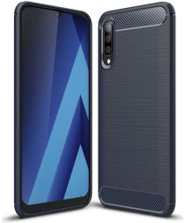 Samsung Galaxy A70 Geborsteld TPU Hoesje Blauw