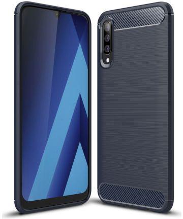 Samsung Galaxy A70 Geborsteld TPU Hoesje Blauw Hoesjes