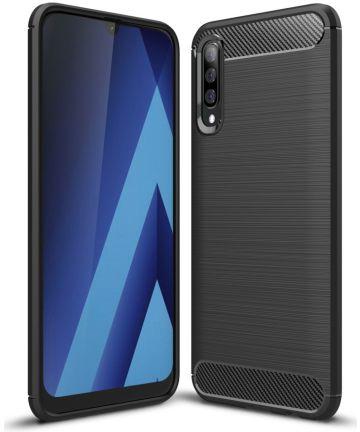 Samsung Galaxy A70 Geborsteld TPU Hoesje Zwart Hoesjes