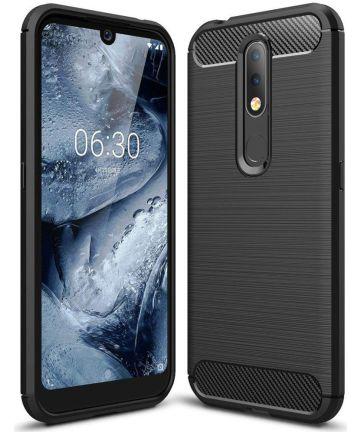 Nokia 4.2 Geborsteld TPU Hoesje Zwart Hoesjes