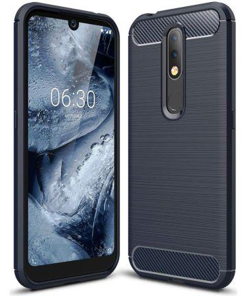 Nokia 4.2 Geborsteld TPU Hoesje Blauw Hoesjes