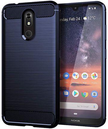 Nokia 3.2 Geborsteld TPU Hoesje Blauw Hoesjes