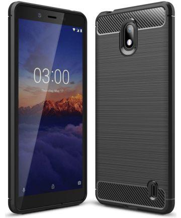 Nokia 1 Plus Geborsteld TPU Hoesje Zwart Hoesjes
