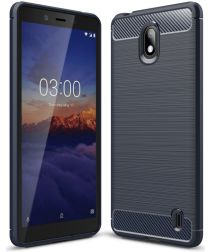 Nokia 1 Plus Geborsteld TPU Hoesje Blauw