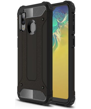 Samsung Galaxy A20E Hoesje Shock Proof Hybride Backcover Zwart Hoesjes