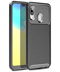 Samsung Galaxy A20E Siliconen Carbon Hoesje Zwart