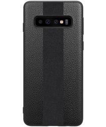 Samsung Galaxy S10 Plus Acryl Hoesje met Kunstleer Coating Zwart