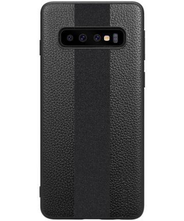 Samsung Galaxy S10 Plus Acryl Hoesje met Kunstleer Coating Zwart Hoesjes