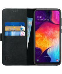 Rosso Deluxe Samsung Galaxy A50 Hoesje Echt Leer Book Case Zwart