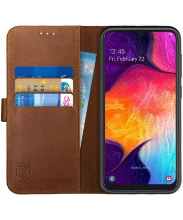 Rosso Deluxe Samsung Galaxy A50 Hoesje Echt Leer Book Case Bruin Hoesjes