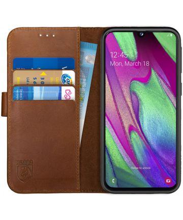 Rosso Deluxe Samsung Galaxy A40 Hoesje Echt Leer Book Case Bruin Hoesjes