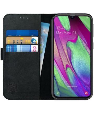 Rosso Deluxe Samsung Galaxy A40 Hoesje Echt Leer Book Case Zwart