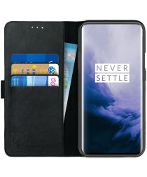 Rosso Deluxe OnePlus 7 Pro Hoesje Echt Leer Book Case Zwart