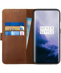 Rosso Deluxe OnePlus 7 Pro Hoesje Echt Leer Book Case Bruin