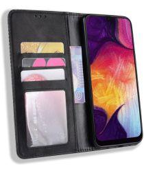 Samsung Galaxy A50 Book Case Hoesje Vintage Wallet Kunst Leer Zwart