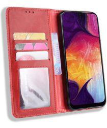 Samsung Galaxy A50 Book Case Hoesje Vintage Wallet Kunst Leer Rood